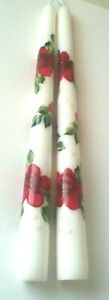 Red Roses and Leaves Hand Painted on a Set of Taper Candles - SHIPS FREE in USA
