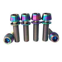 4pcs//lot M6x25mm GR5 Titanium Socket Cap Head Bolts with Washer For Bicyle Stem