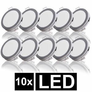 10x LED Einbau Strahler Chrom Decken Leuchten rund Flur Lampen Karton beschädigt