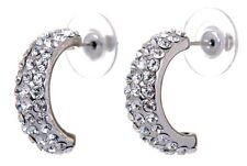 Swarovski Elements Crystal Palace Hoop Pierced Earrings Rhodium Authentic 7237u