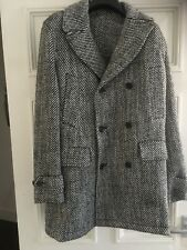 HARDY AMIES WOOL AND MOHAIR BLEND BLACK AND WHITE TWILL PEACOAT NEW