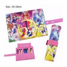 preorder Sailor Moon Pencil Pen Case Roll Cosmetic Pouch Pocket Brush Makeup Bag