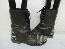 Steve Madden Tarnney Dark Green Leather Spiked Zip Combat Boots Women Size 7.5 M