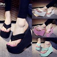 Women Wedge Flip Flops Thick Platform High Heel Slippers Thong Sandals Shoes NEW