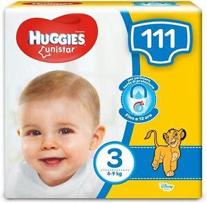 111 x Pannolini taglia 3 per bambini da 4 a 8 kg, HUGGIES Unistar, Comodi