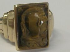 10 k solid gold antique TIGER EYE cameo Roman soldier ring  size 10.25