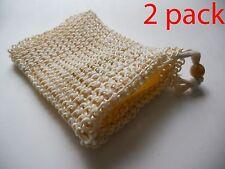 Lot of 2 Sisal Soap Saver Bag Suds Sack Sock Pouch Holder 100% Natural (2 pack)