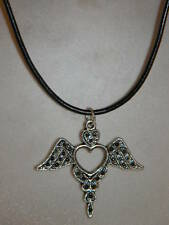 Winged Heart Necklace Silver Black Leather Cord Vintage Steampunk Style