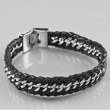 Stainless Steel Genuine Leather Chain Bracelet Silver Black High Polished 21cm