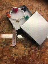 Loves Affect Glass Bead Hear Charm Stretch Bracelet NEW IN BOX