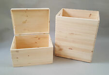 3x Wooden Box Chest With Handel Lid Storage Craft Decoupage Large Size Trunk