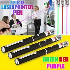 Nouveau 3 x Stylo Laser Vert Clair + Violet + Rouge Faisceau Lazer 1 mW professionnel 650 Presque comme neuf