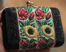 e94add32020b7 Judith Leiber SWAROVSKI CRYSTAL ROSE FILIGREE FLOWER FLORAL Clutch Shoulder  Bag