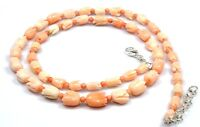"""Natural Coral Tulip Carved Necklace Sterling Silver 18"""" 16"""" Bead Mothers Day Gif"""