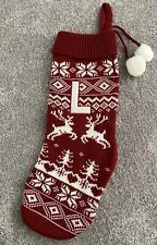 Letter L Christmas Stocking Matalan Initial Red White Knit Style Used Just Once