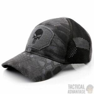 Punisher Mesh Panel Black Kryptec Camo Typhon Baseball Cap Operators Hat Airsoft