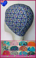 New listing Adults Lycra Swimming Cap - Blue & Yellow Floral Design Swim Hat Adult - New