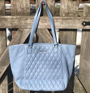 Vera Bradley XL Leather Ella Tote Shopper Chambray Blue Laptop Work