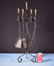 """*31"""" Tall Antique Copper and Wrought Iron Fireplace Set"""