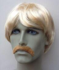 Short Blonde Mens Fancy Dress Wig & Droop Blonde Moustache