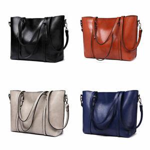 Women Designer Ladies Handbag Shoulder Retro Tote Top Plain Large Handle Bag