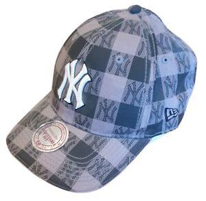 new era ny yankees mlb baseball cap hat sports summer grey check adjustable