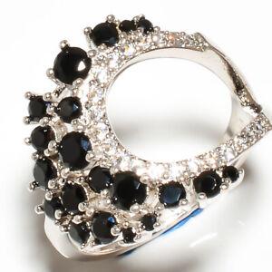 Brazilian Black Onyx, White Topaz 925 Sterling Silver Ring s.9.5 S2690