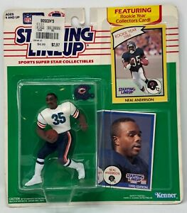 1990 KENNER STARTING LINEUP NFL NEAL ANDERSON WHITE JERSEY CHICAGO BEARS MOC