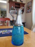 Vintage Pressed Etched Blue Depression Glass with Pewter Claret