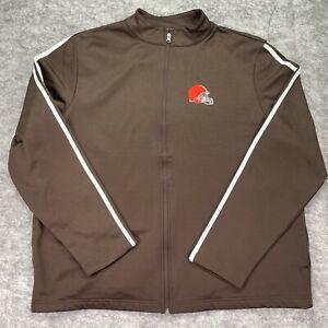Cleveland Browns Jacket Men Extra Large Brown Full Zip Windbreaker Pockets White