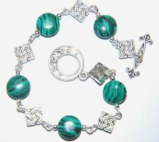 Natural Green Striped MALACHITE Gemstone Celtic Silver Bracelet ~ Toggle clasp