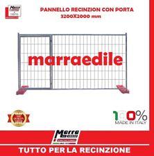 PANNELLO CON PORTA RETE RECINZIONE MOBILE ZINCATO GRIGLIATO CANTIERE 320X200