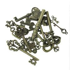 18Pcs Antique Metal Steampunk Mixed Key Shape DIY Craft Pendants Charms