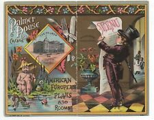Beautiful 1886 Trade Card & Menu from the Palmer House Chicago