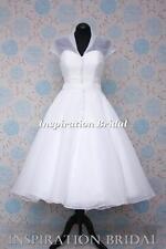 Vestidos De Novia Corta 1565 Té rodilla Organza Abrigo Talla Plus UK Diseño De Vestido Maker