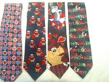 Novelty Christmas, Valentine's Cartoon Holiday Taz Looney Tunes Neckties 4 Ties
