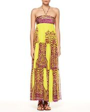 $995 JEAN PAUL GAULTIER Soleil YELLOW Tiered TATTOO Italy HALTER Maxi DRESS M