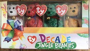 Rare Christmas Official Ty Beanie Babies Jingle Beanies Decade Collection BNIB