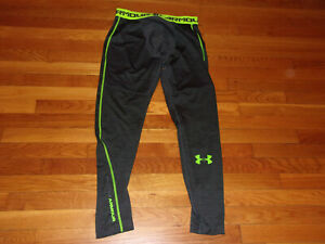 UNDER ARMOUR GRAY/LIME GREEN TRAINING TIGHTS MENS LARGE EXCELLENT CONDITION