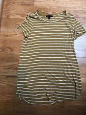 Olivia Sky Women's Knit Top mustard and ivory striped Cotton sz s