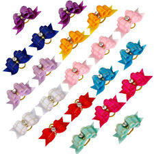 50/100pcs Cute Bling Ribbon Pet Hair Bows Dog Cat Bowknot Grooming Accessories