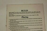 PARTS ONLY RULES OF PLAY / INSTRUCTIONS Roll a Role Vintage Role Playing Game