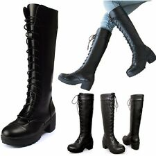 Women's Lace Up Platform Over Knee Thigh High Boots Martin Shoes Riding Boots