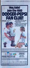 LA Dodger & Pepsi Fan Club - Ron Cey - get free stuff - 1980 color comic ad page