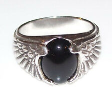 Eagle Wing Ring in Sterling Silver w/ Genuine Black Onyx Sz 11 Eagle Ring