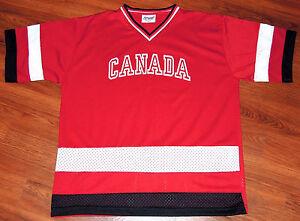 Canada Hockey Jersey Vintage 80s Canada Impressions Mesh RED PUCK Mens Medium