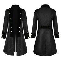 Men's Button Fashion Steampunk Vintage Jacket Gothic Frock Uniform Coat Tailcoat