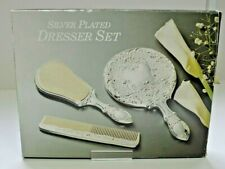 Silver Plated Dresser Set - hairbrush/comb/mirror