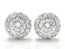 1.00 Carat Natural SI1 Diamonds in 14K Solid White Gold Stud Earrings