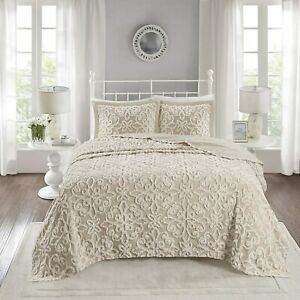 NEW!~ ULTRA SOFT PLUSH BEIGE CHENILLE SHABBY CHIC XXL LARGE BEDSPREAD QUILT SET